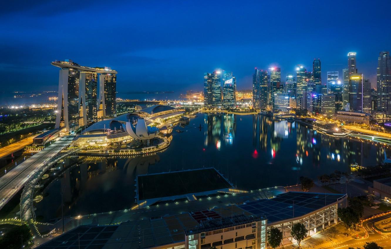 Обои lights, небоскребы, архитектура, blue, Fountains. Города foto 13