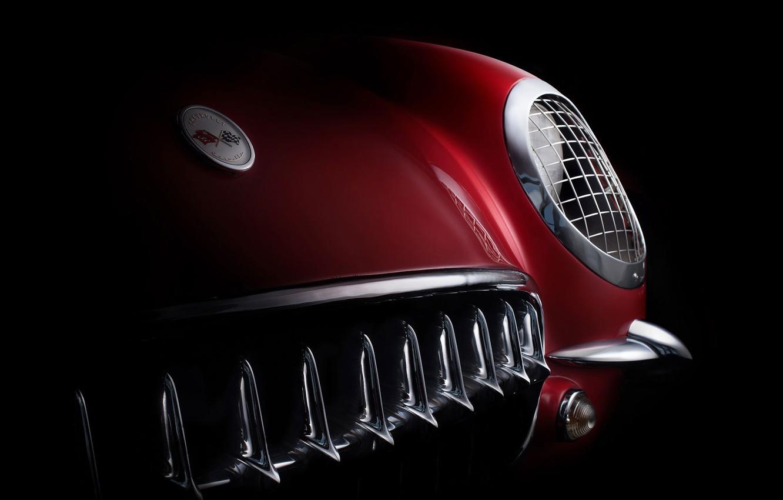 Фото обои фара, решетка, формы, кузов, бампер, ретро автомобили, шильдик, fine art photography, 1954 Corvette