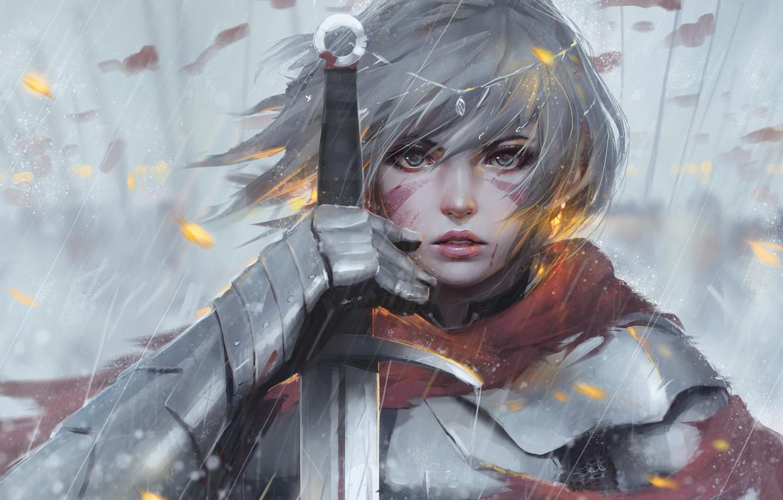 Фото обои girl, sword, fantasy, rain, armor, eyes, art, tattoo, face, painting, artwork, warrior, fantasy art, Knight, …