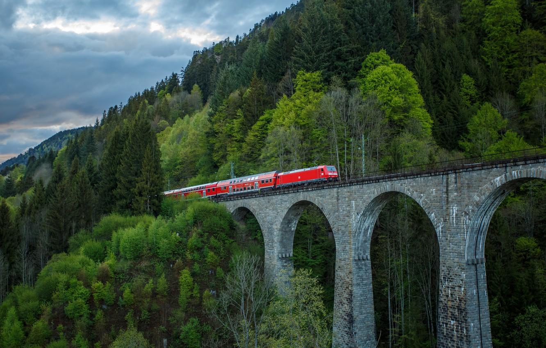 Фото обои пейзаж, мост, поезд