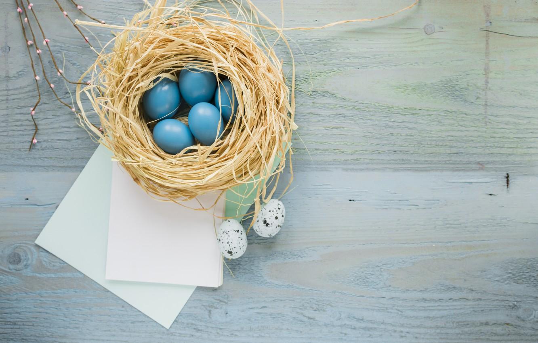 Фото обои ветки, бумага, яйца, пасха, гнездо, Праздник