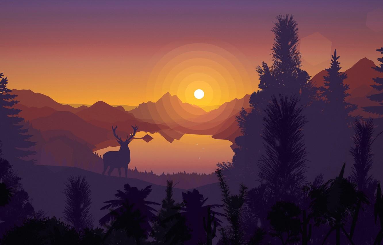 Фото обои закат, горы, озеро, вектор, олень, силуэт, открытка