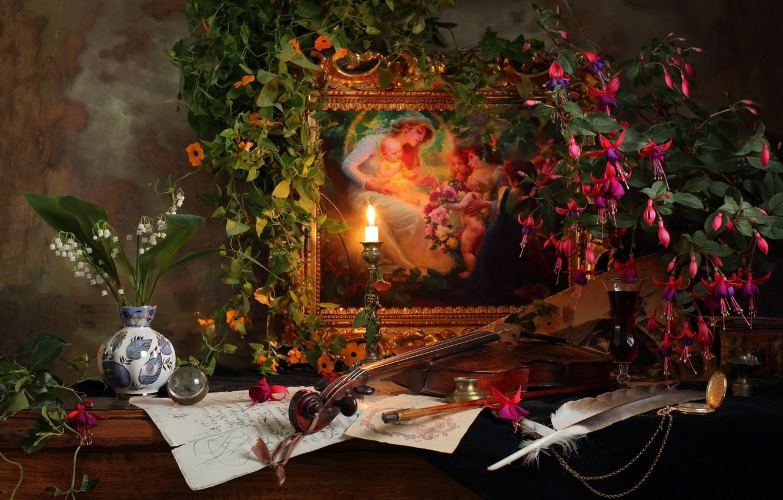 Фото обои цветы, перо, скрипка, бокал, свеча, картина, напиток, ландыши, вьюн, still life, вазочка, фуксия, Andrey Morozov, …