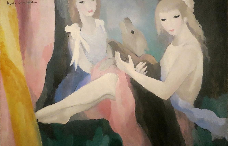 Фото обои Модерн, Marie Laurencin, Девушки с собакой