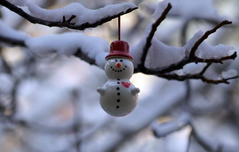 Фото обои праздник, игрушка, снеговик