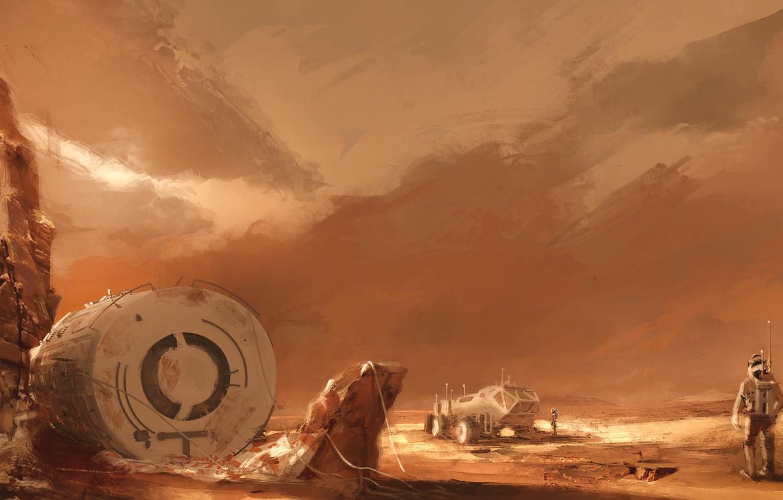 Фото обои space, fantasy, desert, rocks, planet, base, artwork, concept art, Mars, fantasy art, astronauts, spacecraft