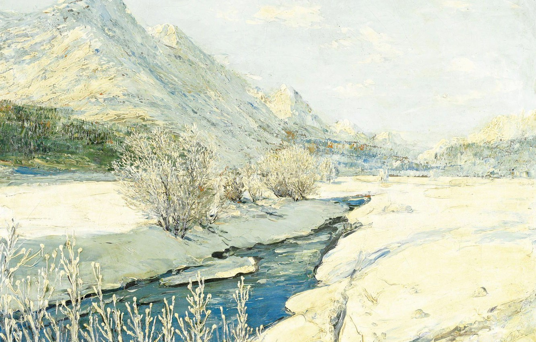 Фото обои пейзаж, горы, ручей, картина, Georgy Lapchin, Георгий Лапшин, Долина в Снегу