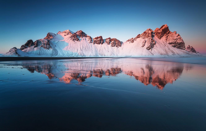 Фото обои пляж, отражения, горы, Исландия, Стокнес