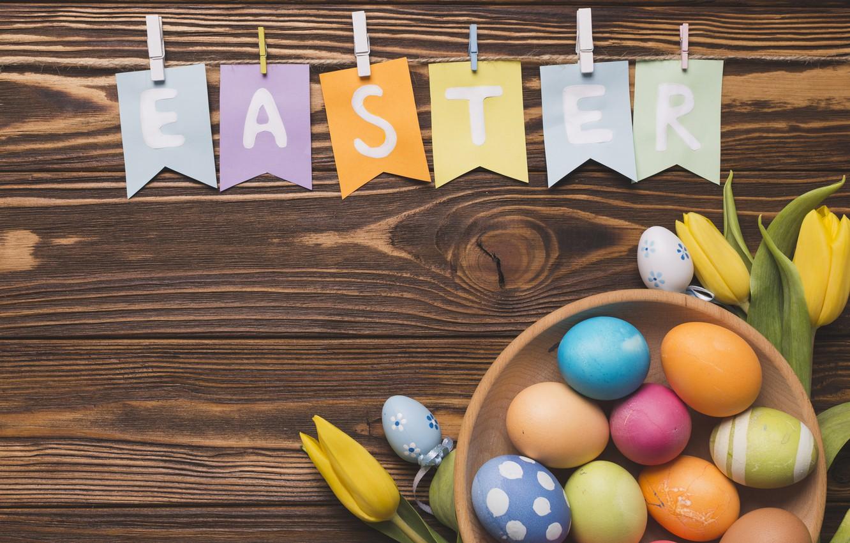 Фото обои цветы, весна, colorful, Пасха, тюльпаны, wood, flowers, tulips, spring, Easter, eggs, decoration, Happy, яйца крашеные
