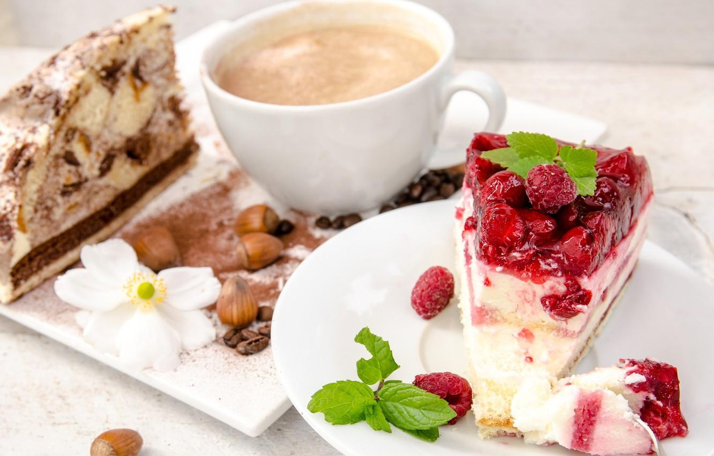 Фото обои ягоды, малина, кофе, торт, мята, фундук