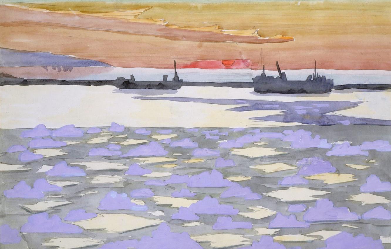 Фото обои 1915, Battleships, Charles Ephraim Burchfield, ледоколы