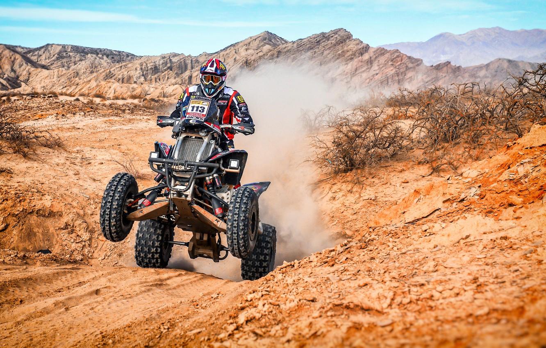 Фото обои Горы, Квадроцикл, Холмы, Гонщик, Мото, Rally, Dakar, Дакар, Ралли, 113