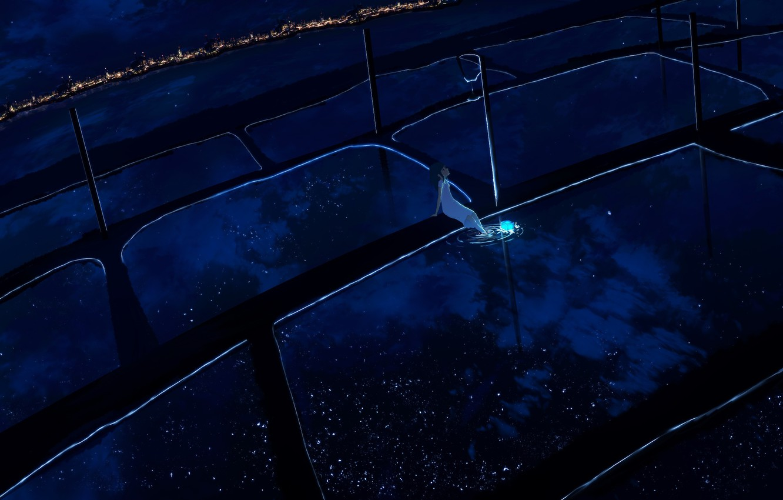 Фото обои девушка, ночь, сияние, столбы, горизонт, иероглифы, сидит, белое платье, art, отражение в воде, звездное небо, …