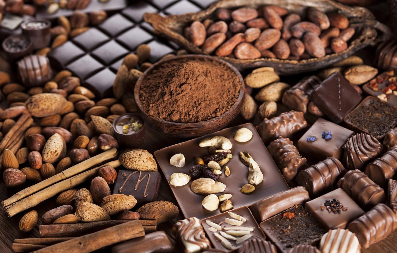 Фото обои шоколад, конфеты, орехи, chocolate, nuts, какао, sweets, candy
