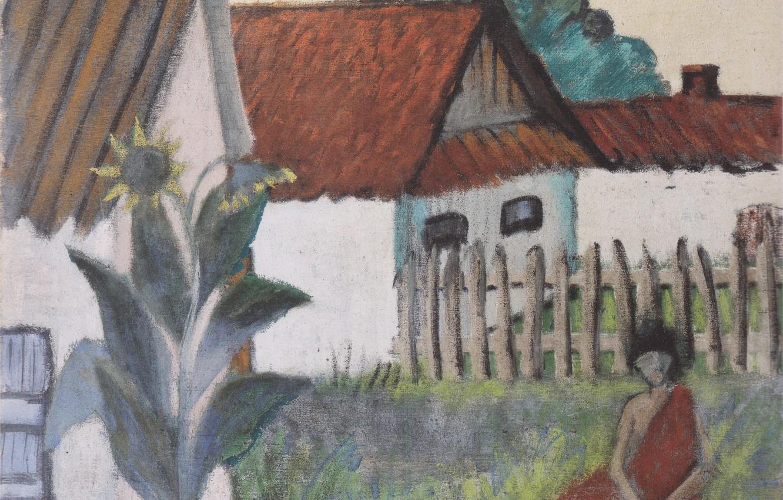 Фото обои девушка, забор, дома, подсолнух, Экспрессионизм, Отто Мюллер, ca1929, Zigeunerin im Garten
