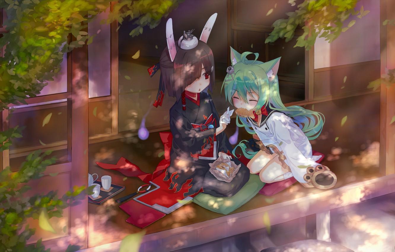 Фото обои девочки, двое, сидят, Azur Lane