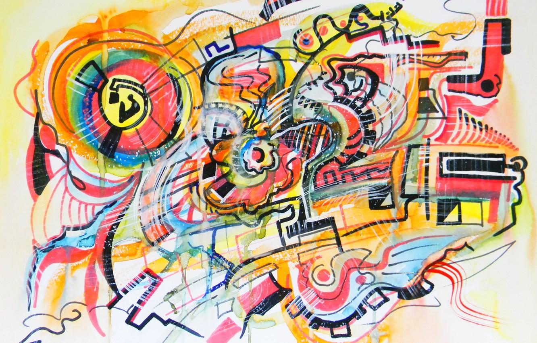 Фото обои оранжевый, жёлтый, розовый, чёрный, голубой, Рисунок, Абстракционизм, Лена Роговая, Бумага для акварели, бумага для пастели