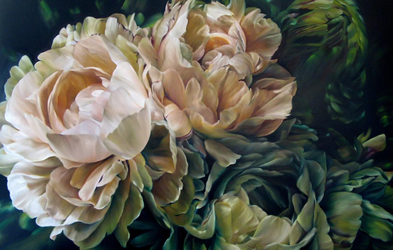 Фото обои цветы, арт, пионы, Марселла Каспар, Marcella Kaspar