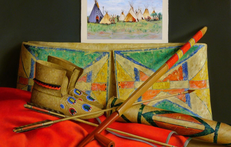 Фото обои картина, трость, сапожки, стрелы, Still life, Many Crow, William Acheff, Индейский натюрморт