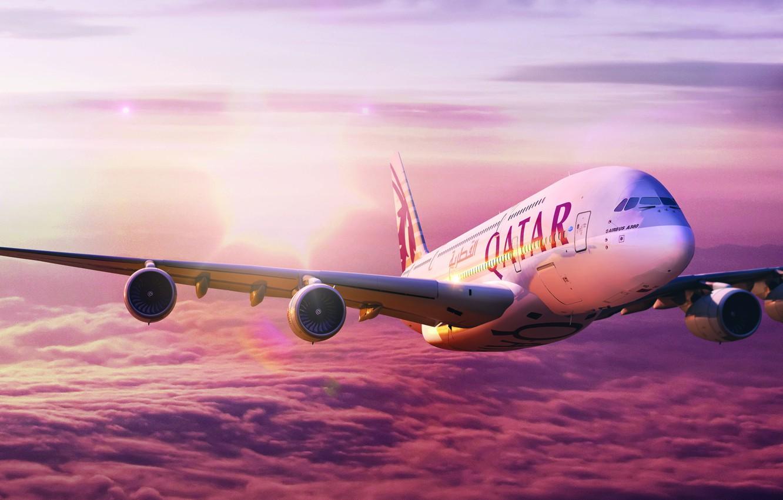 Фото обои Небо, Полёт, A380, Самолёт, Airbus, Аэробус, Qatar, Катар, Qatar Airways, А380, A-380, Авиакомпания, 380, А-380