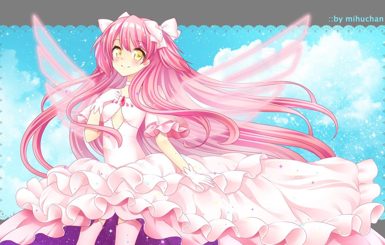 Фото обои Взгляд, девочка, Розовое платье