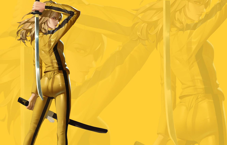 Фото обои попка, глаза, взгляд, девушка, меч, костюм, girl, sword, ass, Kill Bill, eyes, look, costume, Uma …