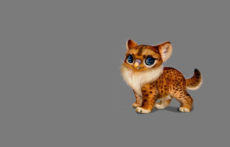 Фото обои фантастика, клюв, малыш, арт, котёнок, киса, милота, детская, зверюшка, by Nefantano