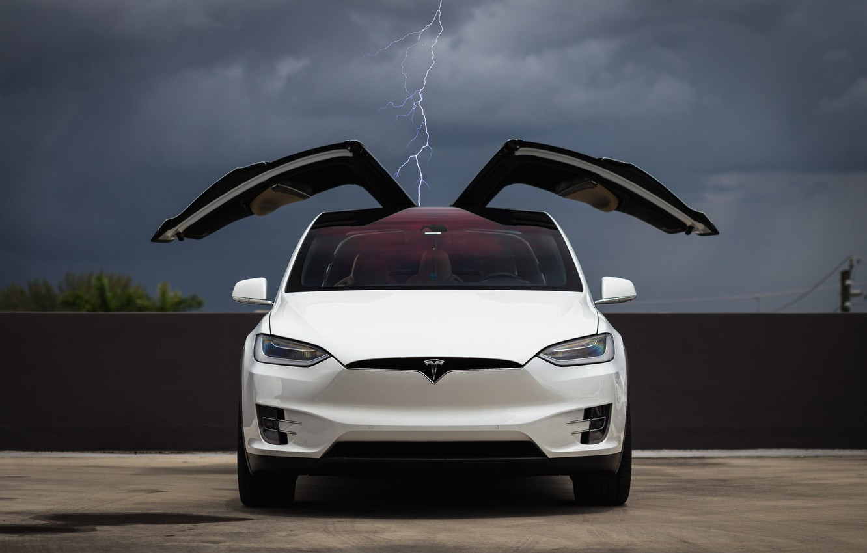 Фото обои Clouds, White, Tesla, Falcon, Model X, Wing, Lighting, Electric Car