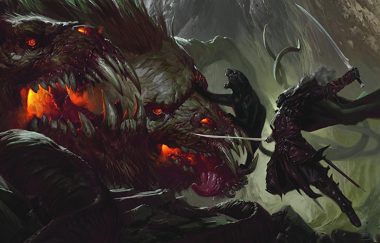 Фото обои кошка, пантера, воин, чудовище, клинки, цербер, warrior, тёмный эльф, Гвенвивар, Дзирт До'Урден, Forgotten Realms