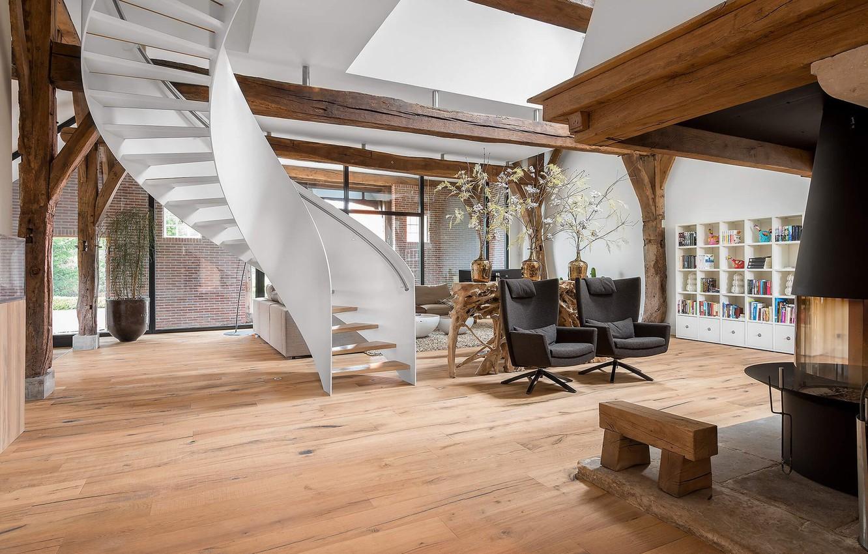 Фото обои вилла, интерьер, камин, гостиная, Old Farmhouse in Enschede