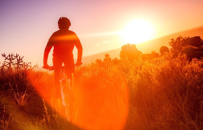 Фото обои природа, утро, спортсмен, велосипедист, Sandia mountains bike