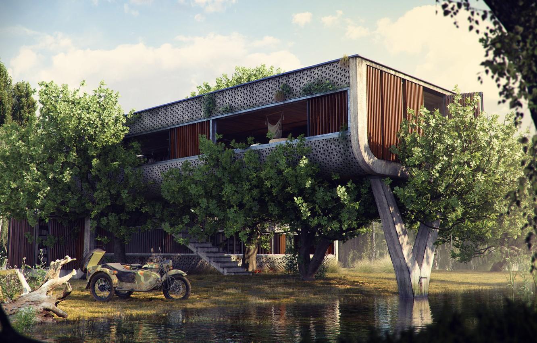 Фото обои растительность, сооружение, мотоцикл, The Outpost, водоём
