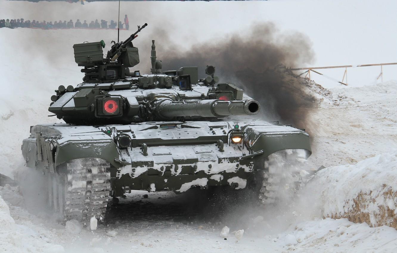 Фото обои танк, боевой, российский, основной, T-90