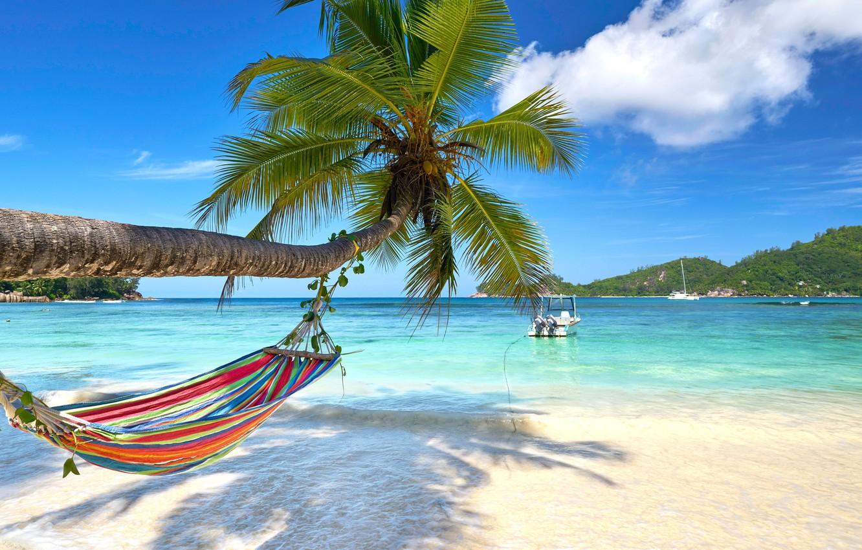Фото обои песок, море, пляж, солнце, пальмы, берег, summer, beach, sea, island, sand, paradise, palms, tropical