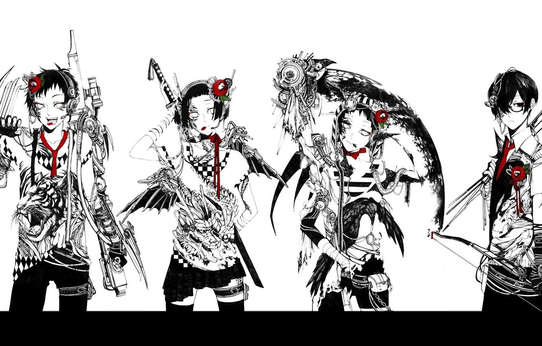 Фото обои тигр, дракон, четверо, банда, ворон, киберпанк, убийцы, коса смерти, красная камелия, супер-оружие, лук и стрелы