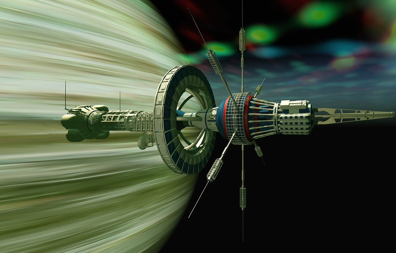 Фото обои космос, полёт, аппарат, The USS Boreas near Gasplanet