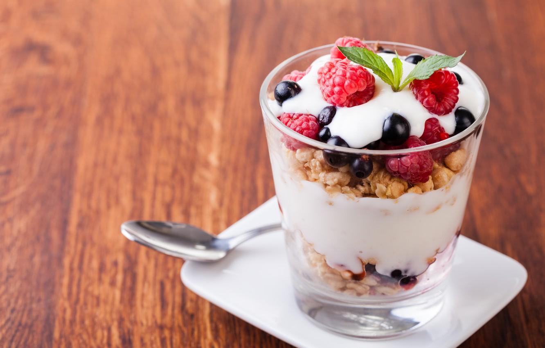 Фото обои ягоды, десерт, хлопья, йогурт