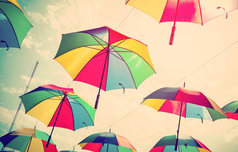 Фото обои лето, небо, colors, зонт, colorful, зонтики, rainbow, summer, flying, umbrella