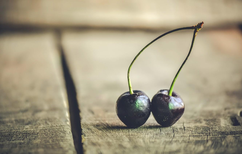 Фото обои макро, вишня, ягоды
