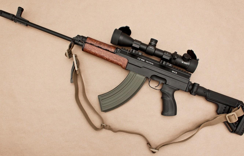 Фото обои оружие, автомат, прицел, weapon, кастом, глушитель, custom, VZ 58, assaul rifle, ВЗ 58