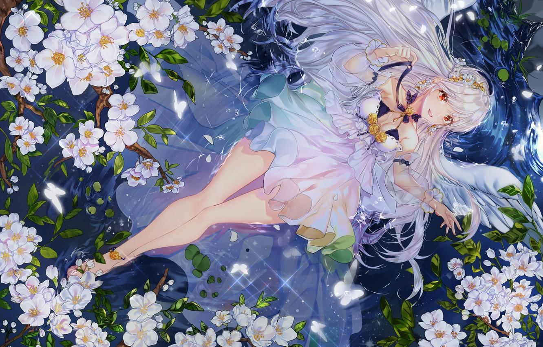 Фото обои вода, девушка, цветы, ангел, арт, kimpeul