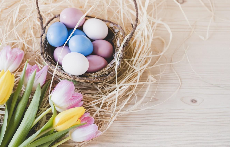 Фото обои Пасха, Яйца, Корзина, Праздник, Гнездо