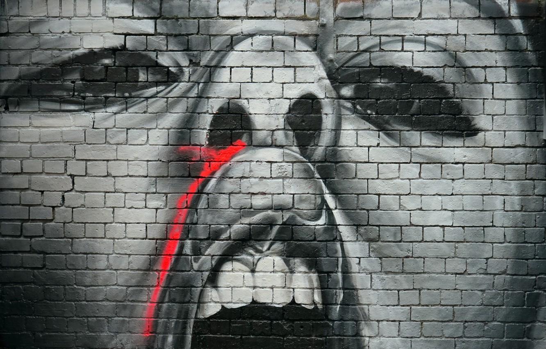 Фото обои стена, граффити, рисунок