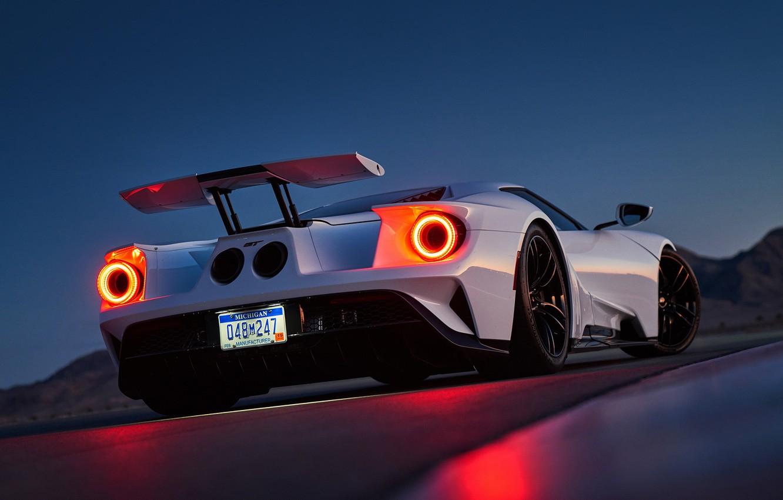 Фото обои Ford, White, Supercar, Rear, Ligth, GT