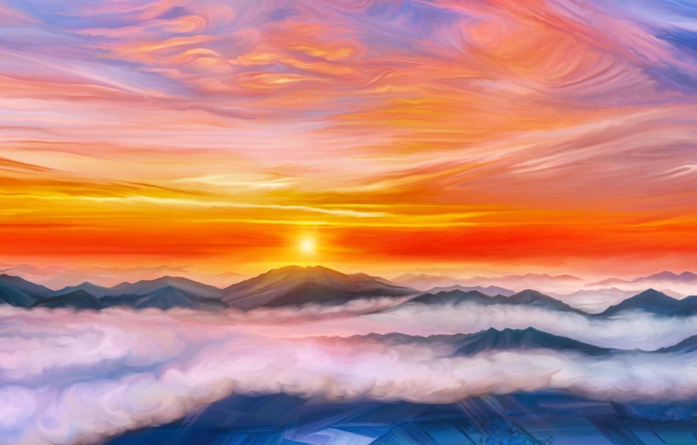 Фото обои облака, закат, горы, by exobiology