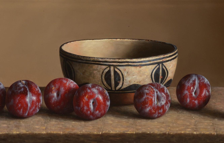 Фото обои чаша, тарелка, слива, Still life, Plums, William Acheff, Индейский натюрморт