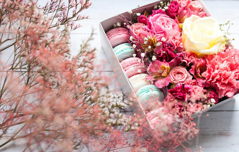 Фото обои цветы, коробка, pink, flowers, background, macaron