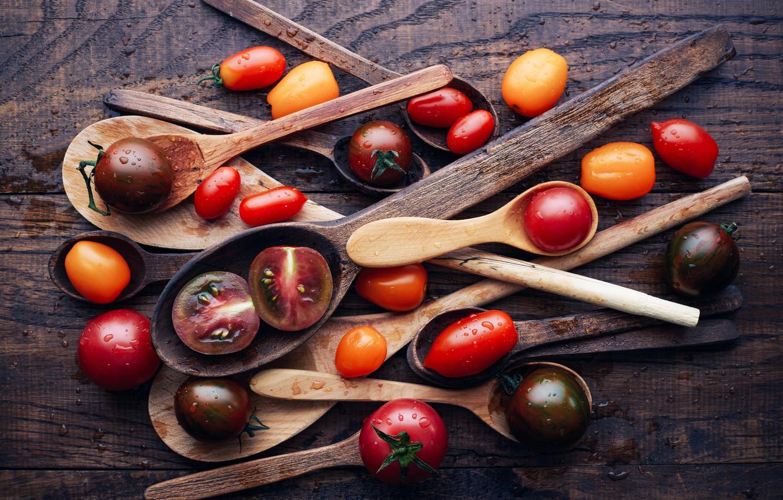 Фото обои помидоры, томаты, ложки