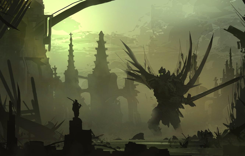Фото обои fantasy, Robot, weapons, hero, digital art, artwork, warrior, swords, fantasy art, silhouette, creature