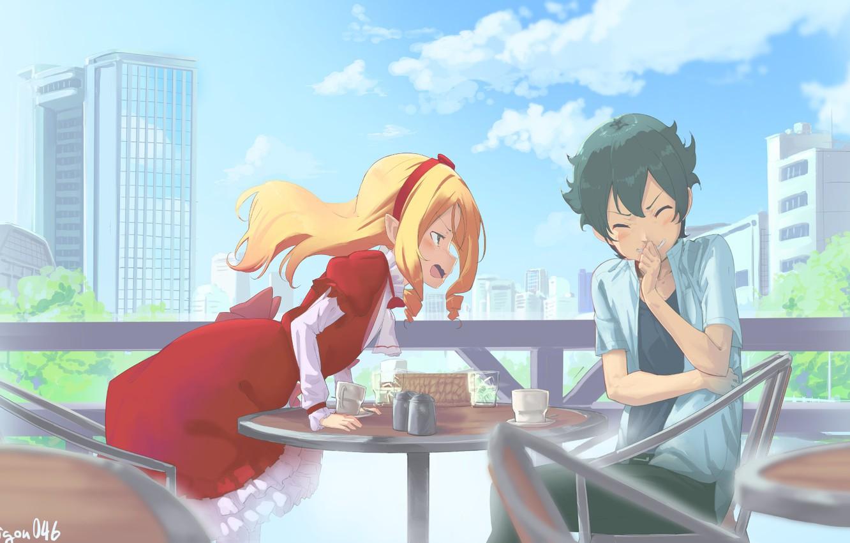 Фото обои девушка, аниме, арт, кафе, парень, EroManga-Sensei